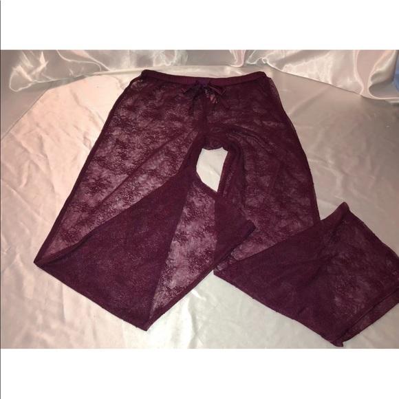 56ebffe0fb0a4 VS sheer lace pajama lounge pants burgundy nwt NWT